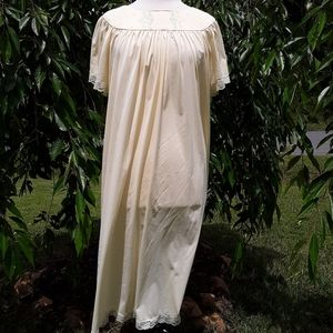 Vintage Silky Flowing Night Gown Pajamas Lace Trim